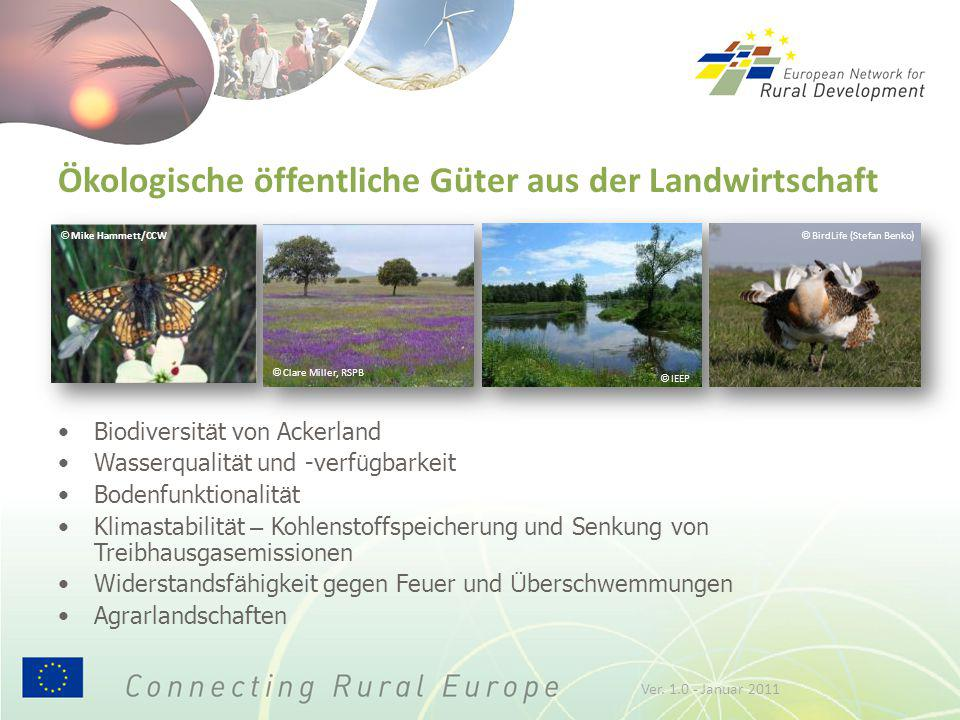 © Mike Hammett/CCW Ökologische öffentliche Güter aus der Landwirtschaft Biodiversit ä t von Ackerland Wasserqualit ä t und -verf ü gbarkeit Bodenfunkt