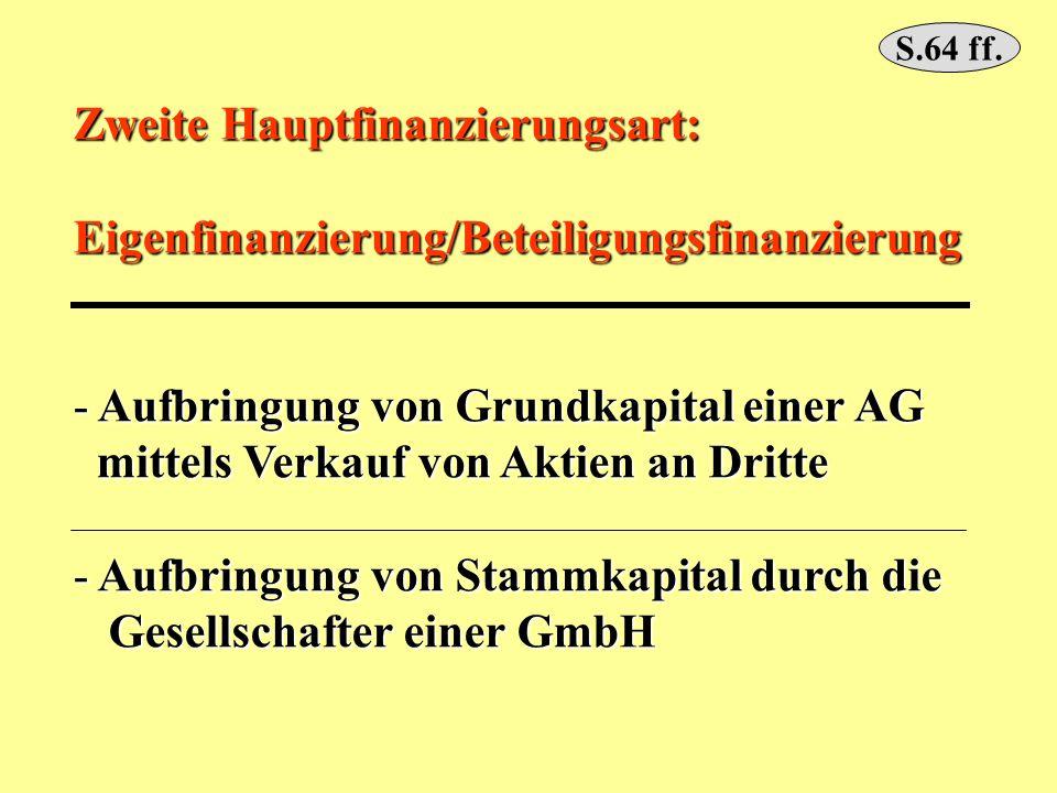 Zweite Hauptfinanzierungsart: Eigenfinanzierung/Beteiligungsfinanzierung - Aufbringung von Grundkapital einer AG mittels Verkauf von Aktien an Dritte