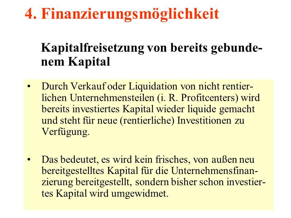4. Finanzierungsmöglichkeit Kapitalfreisetzung von bereits gebunde- nem Kapital Durch Verkauf oder Liquidation von nicht rentier- lichen Unternehmenst