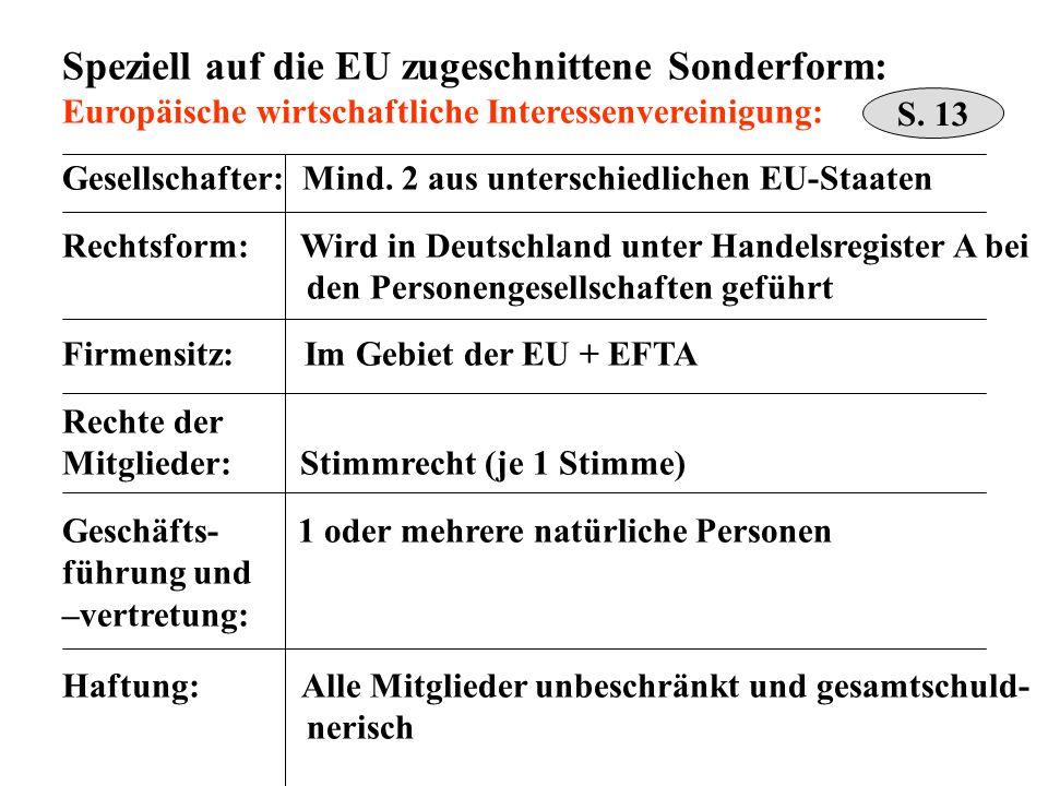 Speziell auf die EU zugeschnittene Sonderform: Europäische wirtschaftliche Interessenvereinigung: Gesellschafter: Mind. 2 aus unterschiedlichen EU-Sta