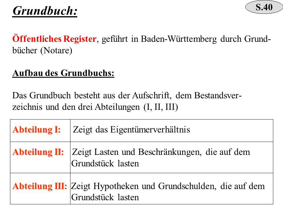 Grundbuch: Öffentliches Register, geführt in Baden-Württemberg durch Grund- bücher (Notare) Aufbau des Grundbuchs: Das Grundbuch besteht aus der Aufsc