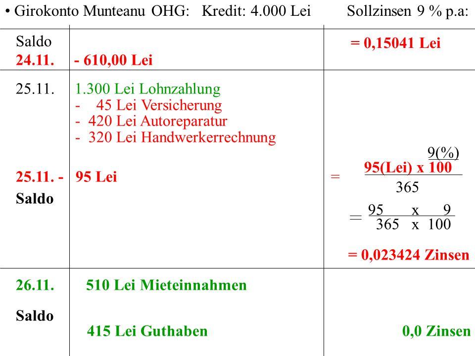 Girokonto Munteanu OHG: Kredit: 4.000 Lei Sollzinsen 9 % p.a: = 0,15041 Lei Saldo 24.11. - 610,00 Lei 25.11. 1.300 Lei Lohnzahlung - 45 Lei Versicheru