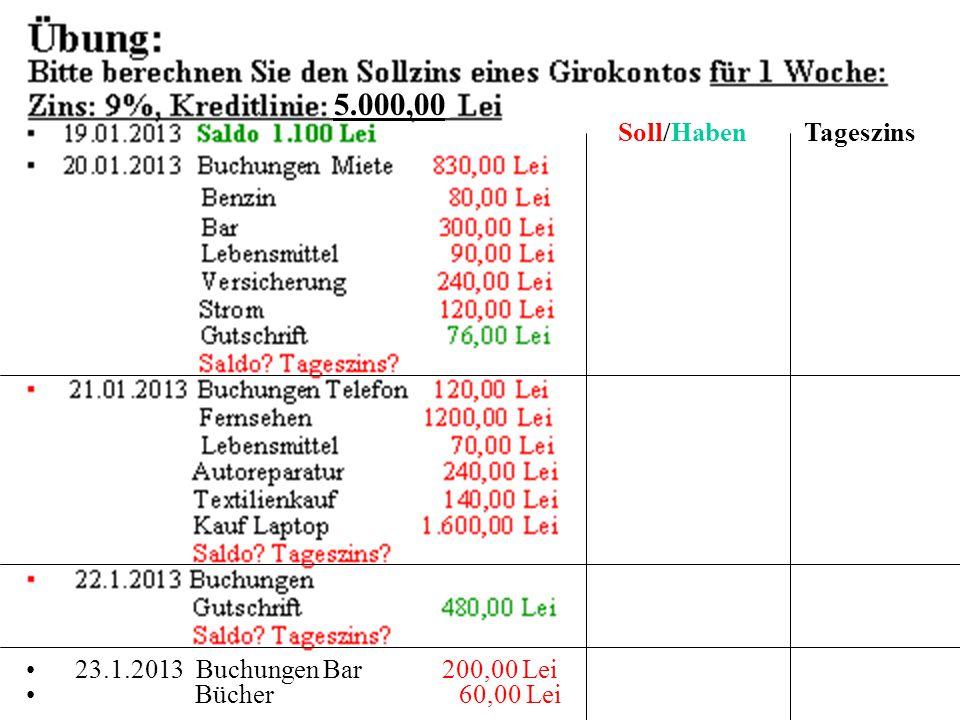 für 3 Tage Soll/Haben Tageszins 5.000,00 23.1.2013 Buchungen Bar 200,00 Lei Bücher 60,00 Lei