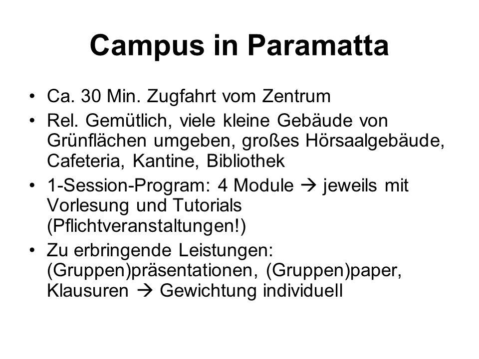 Campus in Paramatta Ca.30 Min. Zugfahrt vom Zentrum Rel.
