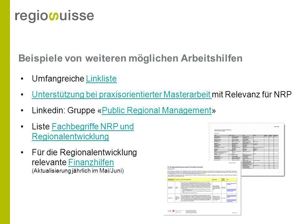 Beispiele von weiteren möglichen Arbeitshilfen Umfangreiche LinklisteLinkliste Unterstützung bei praxisorientierter Masterarbeit mit Relevanz für NRPU