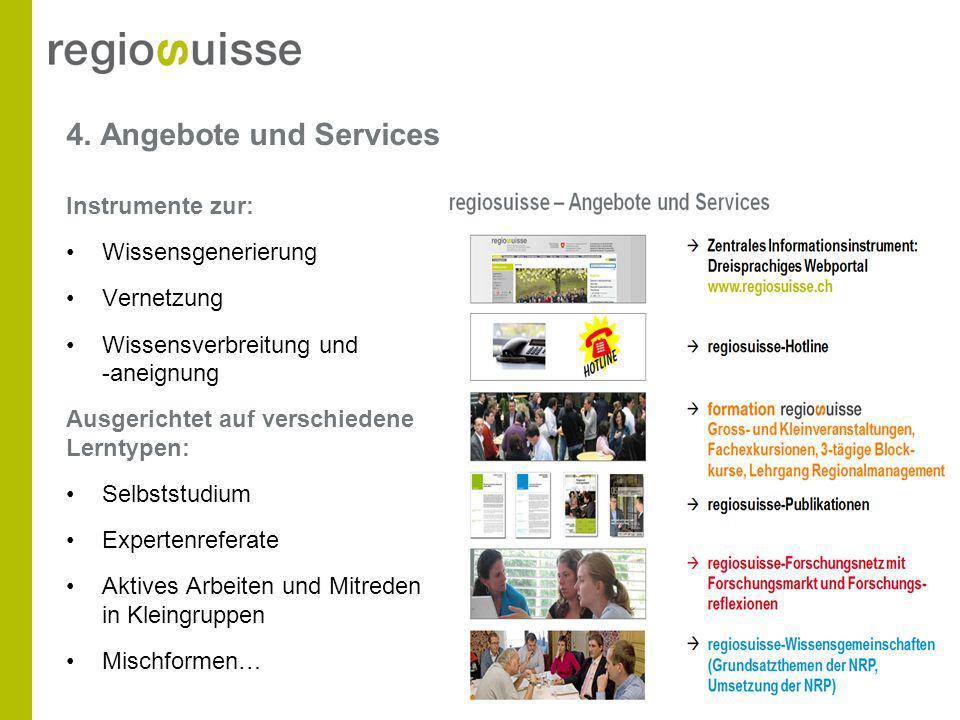 4. Angebote und Services Instrumente zur: Wissensgenerierung Vernetzung Wissensverbreitung und -aneignung Ausgerichtet auf verschiedene Lerntypen: Sel