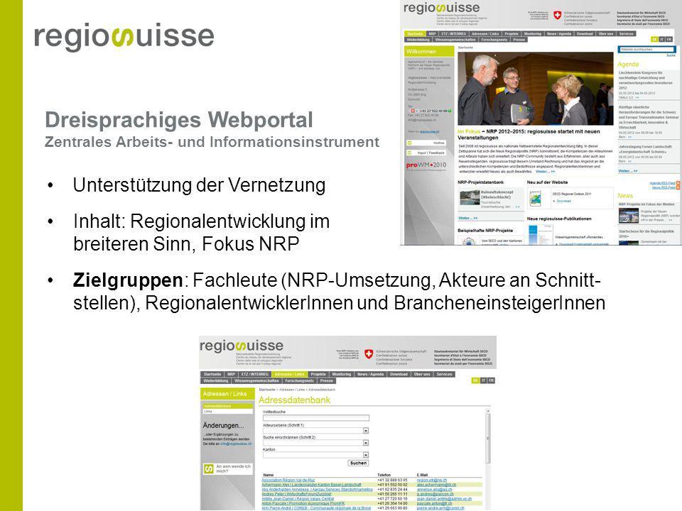 Dreisprachiges Webportal Zentrales Arbeits- und Informationsinstrument Unterstützung der Vernetzung Inhalt: Regionalentwicklung im breiteren Sinn, Fok