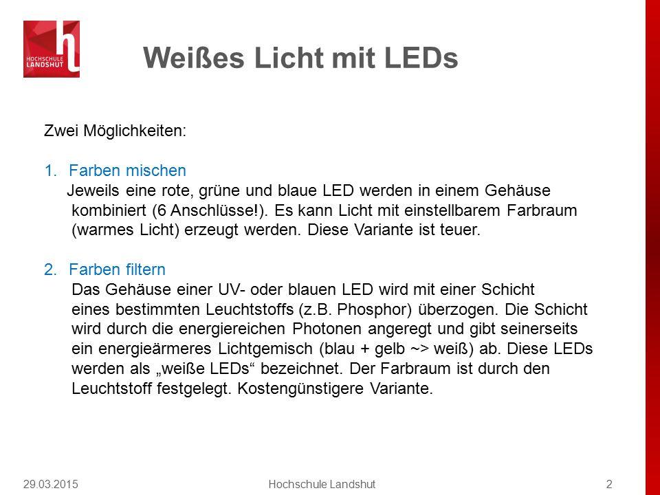 Weißes Licht mit LEDs 29.03.20152Hochschule Landshut Zwei Möglichkeiten: 1.Farben mischen Jeweils eine rote, grüne und blaue LED werden in einem Gehäu