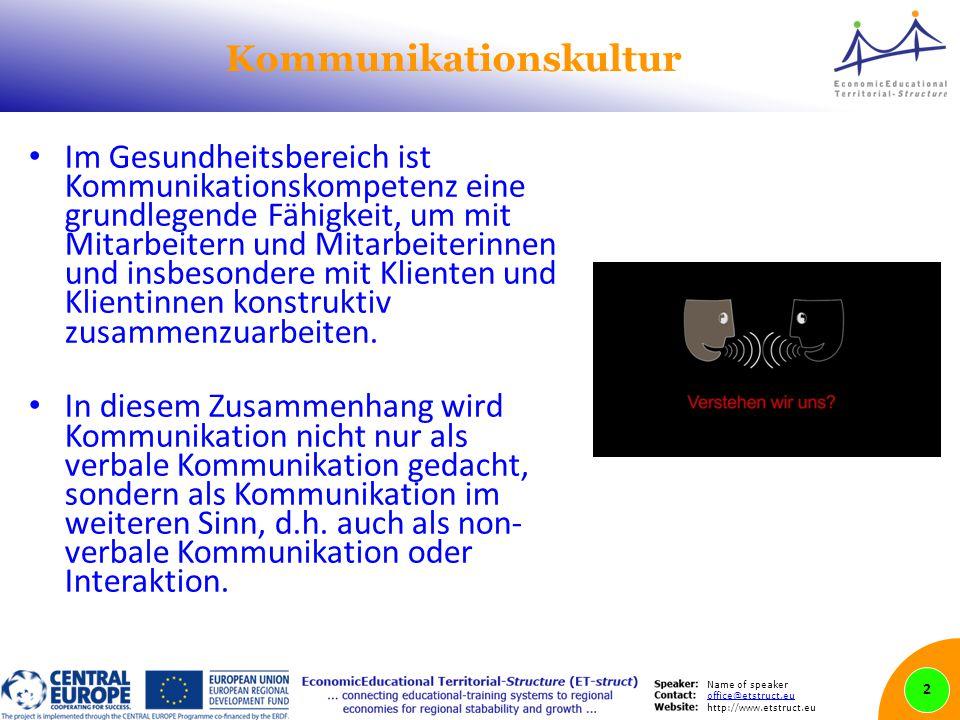Name of speaker office@etstruct.eu http://www.etstruct.eu Kommunikationskultur Im Gesundheitsbereich ist Kommunikationskompetenz eine grundlegende Fähigkeit, um mit Mitarbeitern und Mitarbeiterinnen und insbesondere mit Klienten und Klientinnen konstruktiv zusammenzuarbeiten.