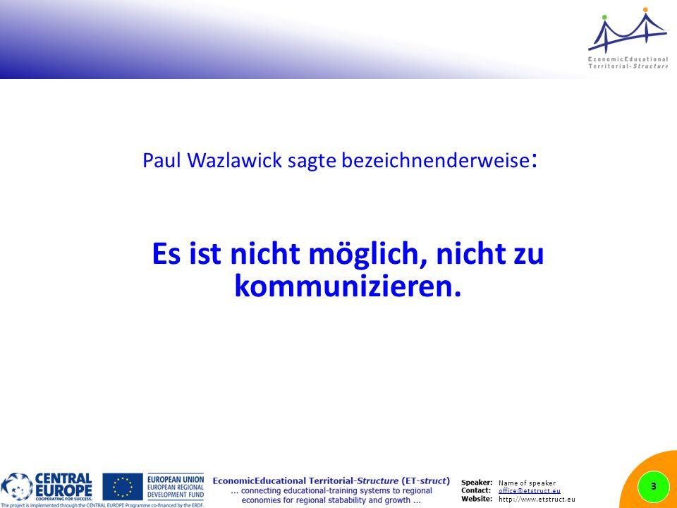 Name of speaker office@etstruct.eu http://www.etstruct.eu Paul Wazlawick sagte bezeichnenderweise : Es ist nicht möglich, nicht zu kommunizieren.