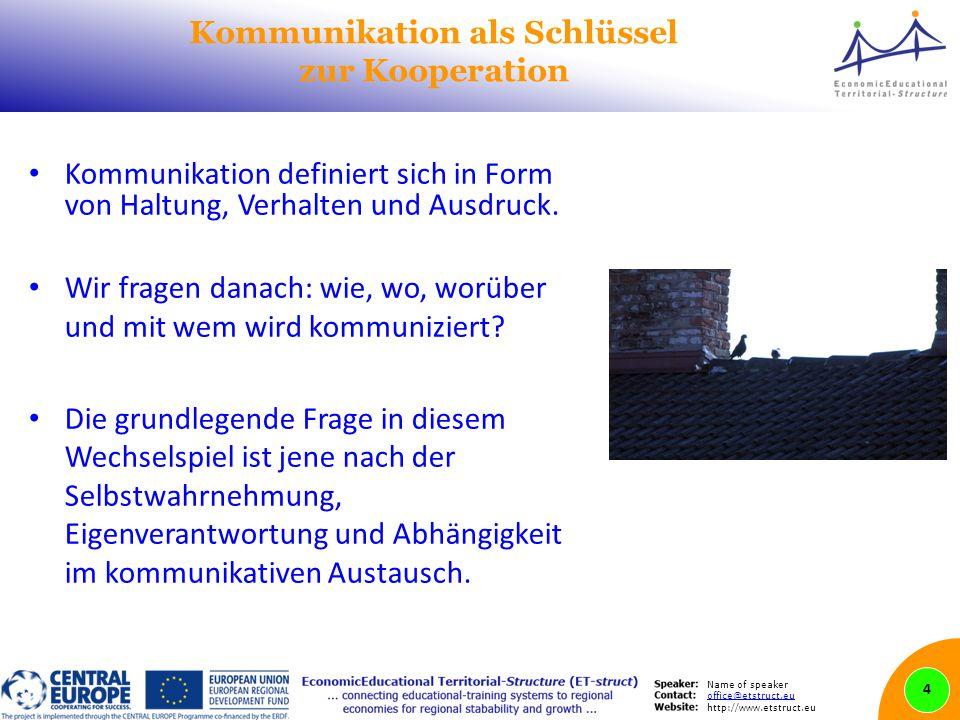 Name of speaker office@etstruct.eu http://www.etstruct.eu Kommunikation als Schlüssel zur Kooperation Kommunikation definiert sich in Form von Haltung