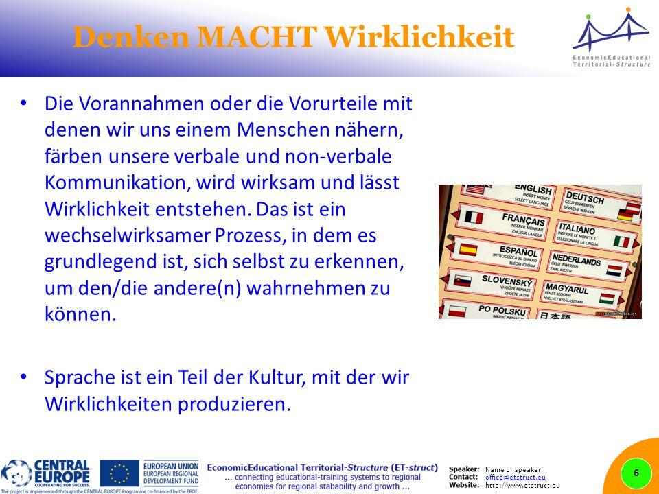 Name of speaker office@etstruct.eu http://www.etstruct.eu Denken MACHT Wirklichkeit Die Vorannahmen oder die Vorurteile mit denen wir uns einem Mensch