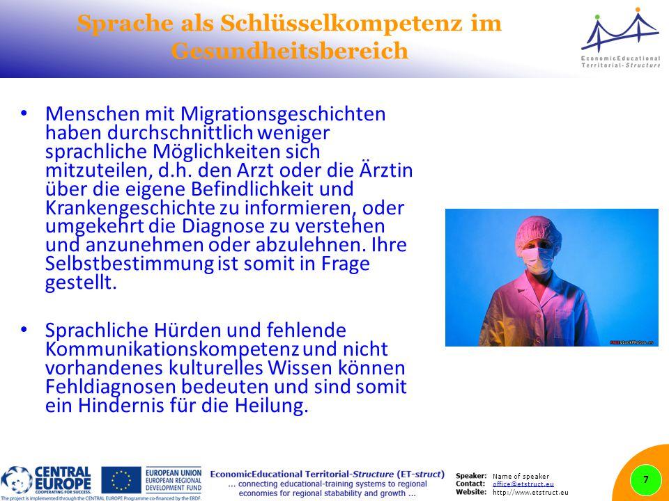 Name of speaker office@etstruct.eu http://www.etstruct.eu Sprache als Schlüsselkompetenz im Gesundheitsbereich Menschen mit Migrationsgeschichten haben durchschnittlich weniger sprachliche Möglichkeiten sich mitzuteilen, d.h.