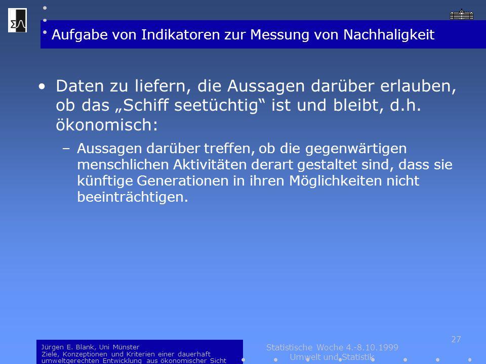 Jürgen E. Blank, Uni Münster Ziele, Konzeptionen und Kriterien einer dauerhaft umweltgerechten Entwicklung aus ökonomischer Sicht Statistische Woche 4