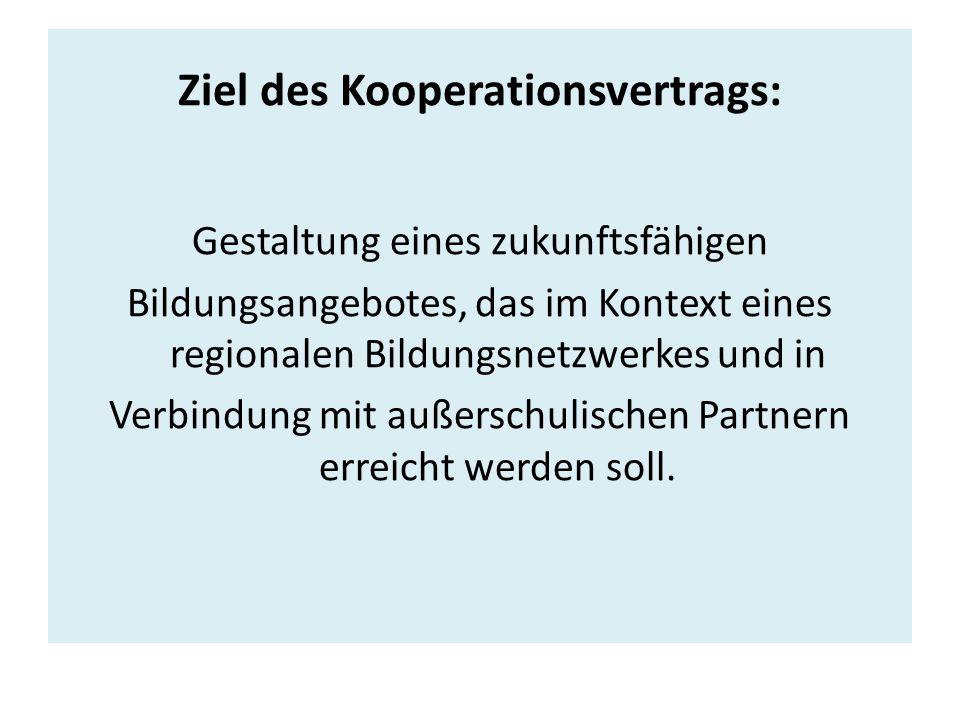 Ziel des Kooperationsvertrags: Gestaltung eines zukunftsfähigen Bildungsangebotes, das im Kontext eines regionalen Bildungsnetzwerkes und in Verbindung mit außerschulischen Partnern erreicht werden soll.