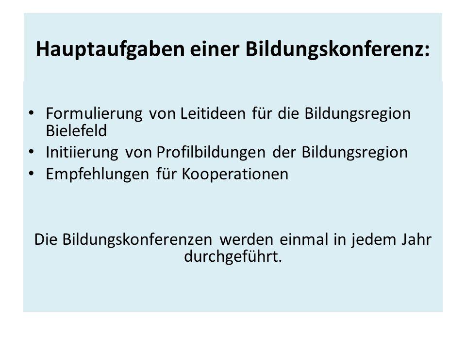 Hauptaufgaben einer Bildungskonferenz: Formulierung von Leitideen für die Bildungsregion Bielefeld Initiierung von Profilbildungen der Bildungsregion Empfehlungen für Kooperationen Die Bildungskonferenzen werden einmal in jedem Jahr durchgeführt.