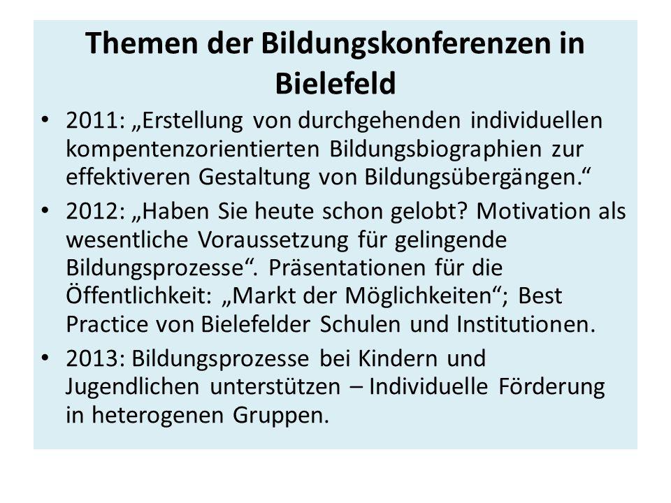 """Themen der Bildungskonferenzen in Bielefeld 2011: """"Erstellung von durchgehenden individuellen kompentenzorientierten Bildungsbiographien zur effektiveren Gestaltung von Bildungsübergängen. 2012: """"Haben Sie heute schon gelobt."""