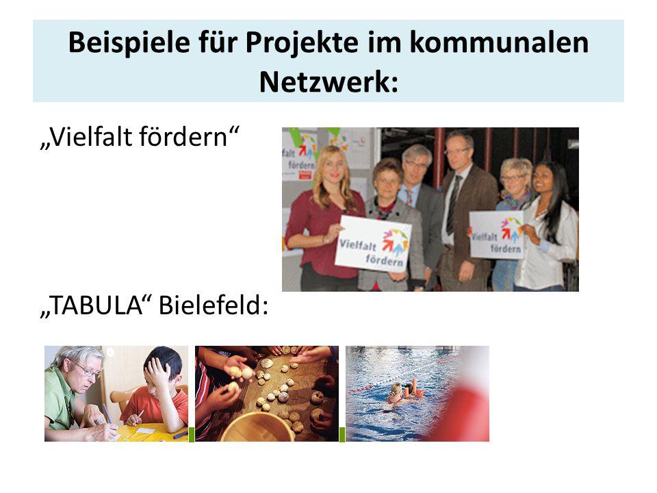 """Beispiele für Projekte im kommunalen Netzwerk: """"Vielfalt fördern """"TABULA Bielefeld:"""