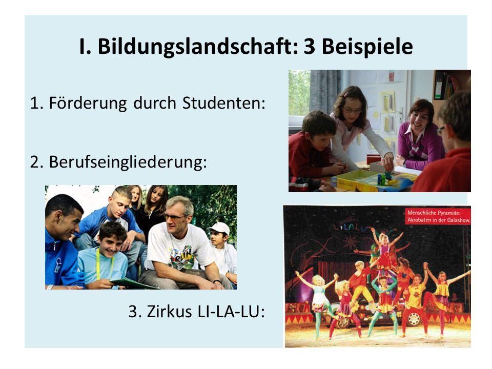 I.Bildungslandschaft: 3 Beispiele 1. Förderung durch Studenten: 2.