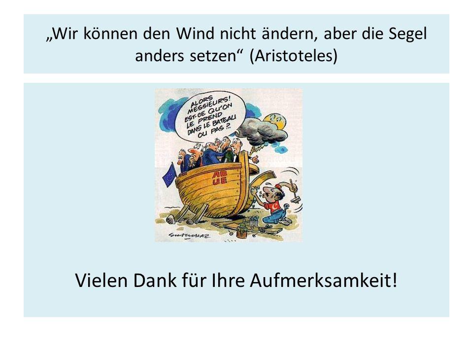 """""""Wir können den Wind nicht ändern, aber die Segel anders setzen (Aristoteles) Vielen Dank für Ihre Aufmerksamkeit!"""