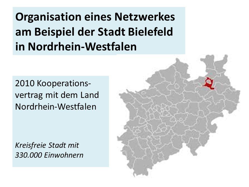 Organisation eines Netzwerkes am Beispiel der Stadt Bielefeld in Nordrhein-Westfalen 2010 Kooperations- vertrag mit dem Land Nordrhein-Westfalen Kreisfreie Stadt mit 330.000 Einwohnern