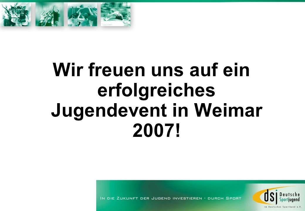 Wir freuen uns auf ein erfolgreiches Jugendevent in Weimar 2007!