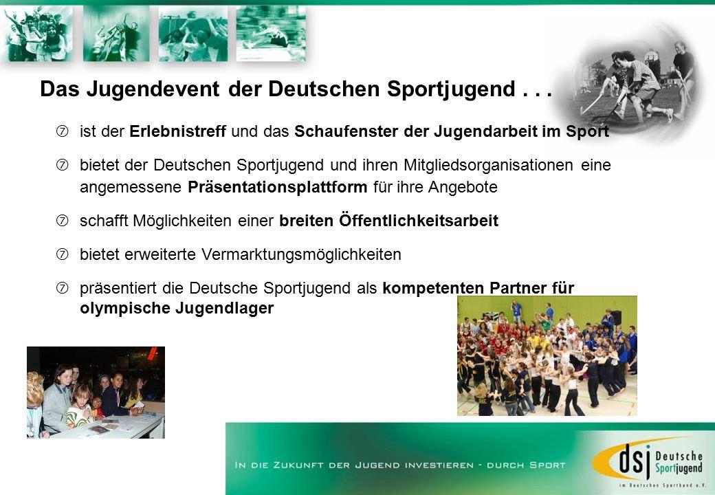 Das Jugendevent der Deutschen Sportjugend... ‡ist der Erlebnistreff und das Schaufenster der Jugendarbeit im Sport ‡bietet der Deutschen Sportjugend u