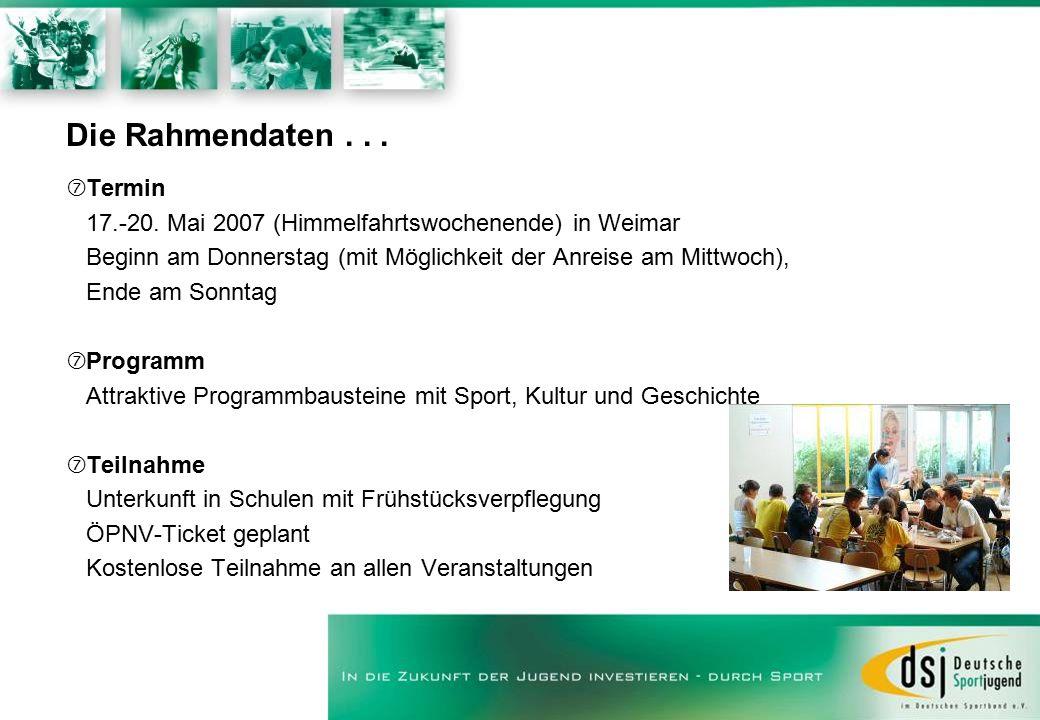 Die Rahmendaten... ‡Termin 17.-20. Mai 2007 (Himmelfahrtswochenende) in Weimar Beginn am Donnerstag (mit Möglichkeit der Anreise am Mittwoch), Ende am