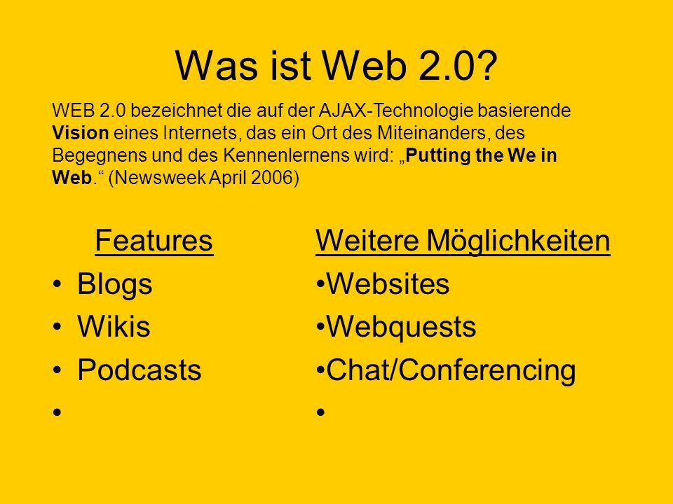 Was ist Web 2.0? Features Blogs Wikis Podcasts WEB 2.0 bezeichnet die auf der AJAX-Technologie basierende Vision eines Internets, das ein Ort des Mite