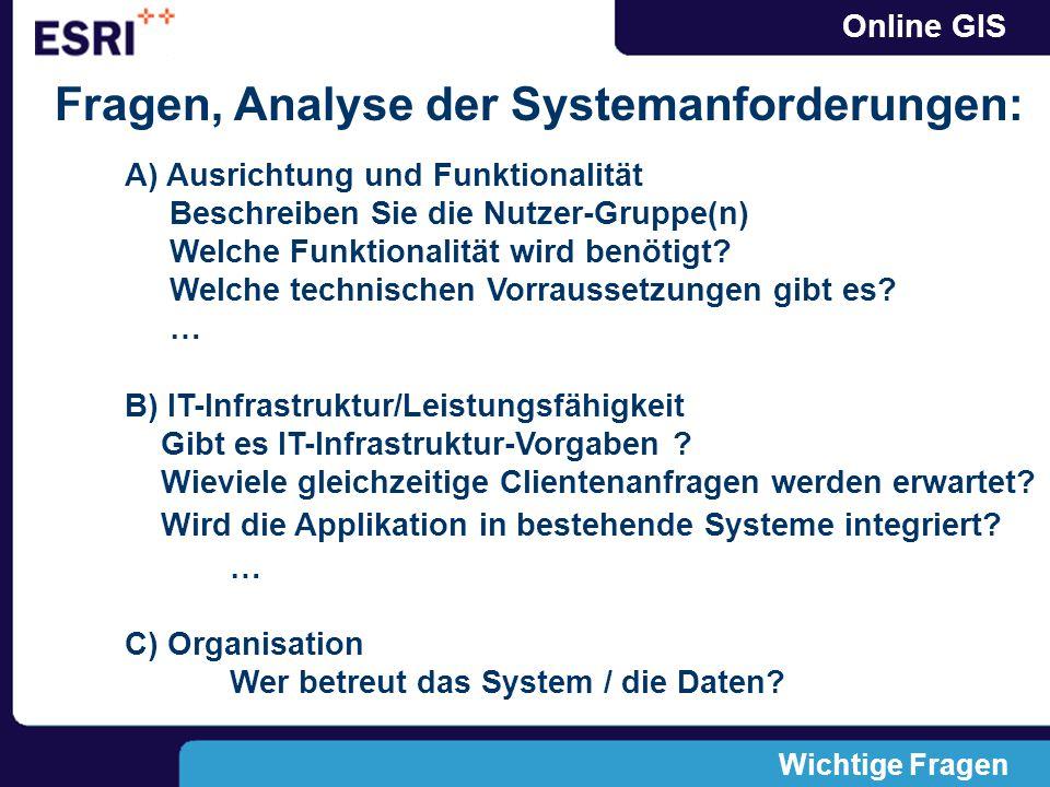 Online GIS Wichtige Fragen Fragen, Analyse der Systemanforderungen: A) Ausrichtung und Funktionalität Beschreiben Sie die Nutzer-Gruppe(n) Welche Funktionalität wird benötigt.
