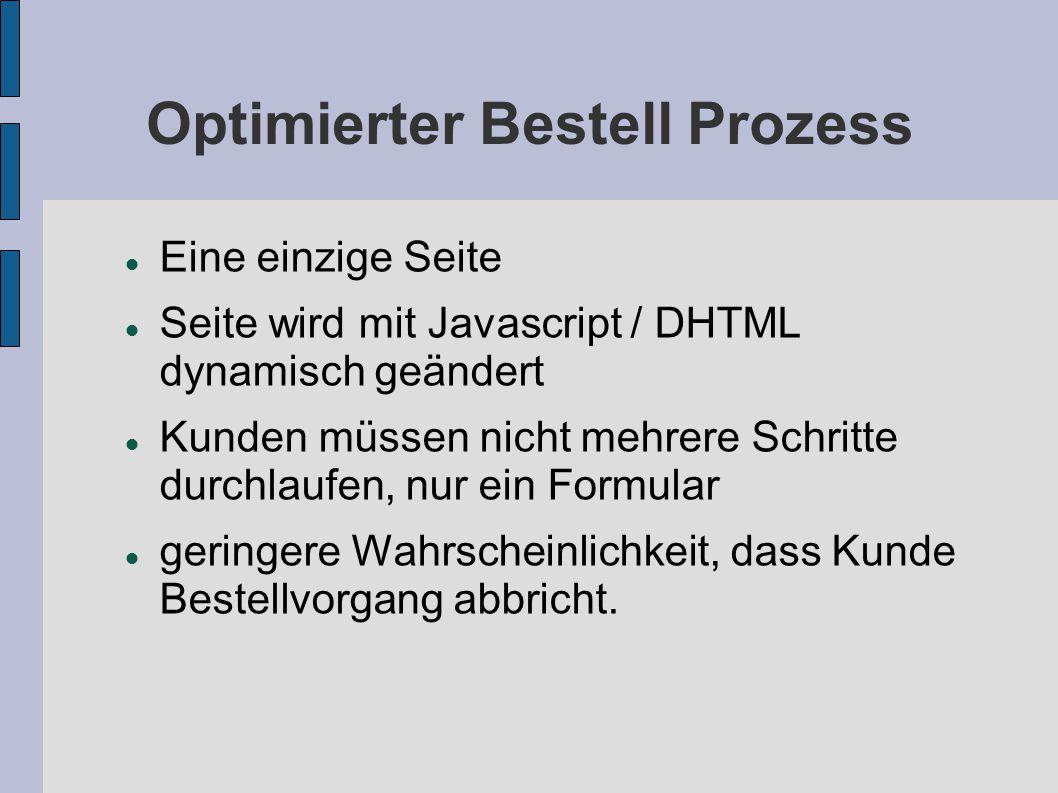 Optimierter Bestell Prozess Eine einzige Seite Seite wird mit Javascript / DHTML dynamisch geändert Kunden müssen nicht mehrere Schritte durchlaufen, nur ein Formular geringere Wahrscheinlichkeit, dass Kunde Bestellvorgang abbricht.