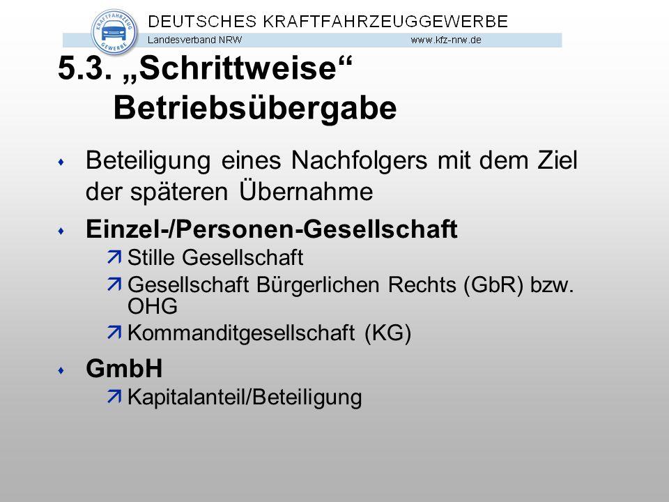"""5.3. """"Schrittweise"""" Betriebsübergabe s Beteiligung eines Nachfolgers mit dem Ziel der späteren Übernahme s Einzel-/Personen-Gesellschaft äStille Gesel"""