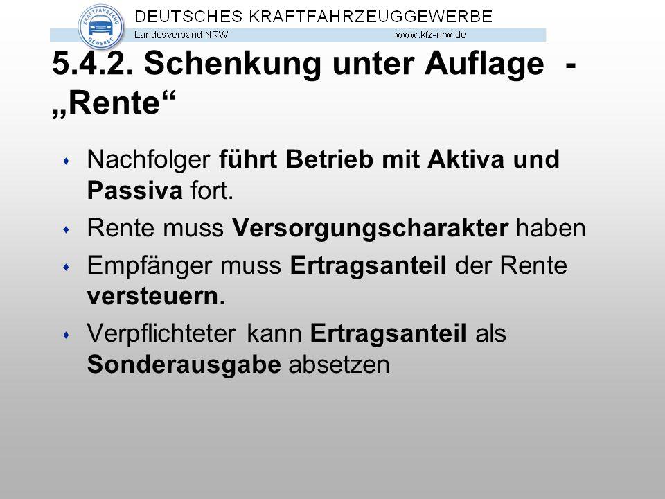 """5.4.2. Schenkung unter Auflage - """"Rente"""" s Nachfolger führt Betrieb mit Aktiva und Passiva fort. s Rente muss Versorgungscharakter haben s Empfänger m"""