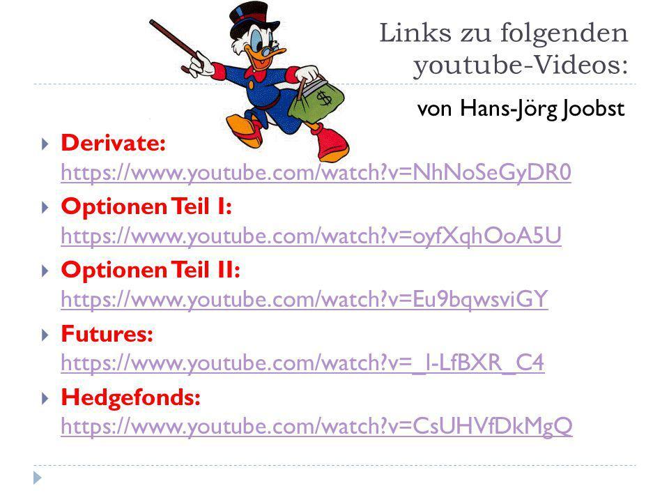 Links zu folgenden youtube-Videos: von Hans-Jörg Joobst  Derivate: https://www.youtube.com/watch?v=NhNoSeGyDR0 https://www.youtube.com/watch?v=NhNoSe