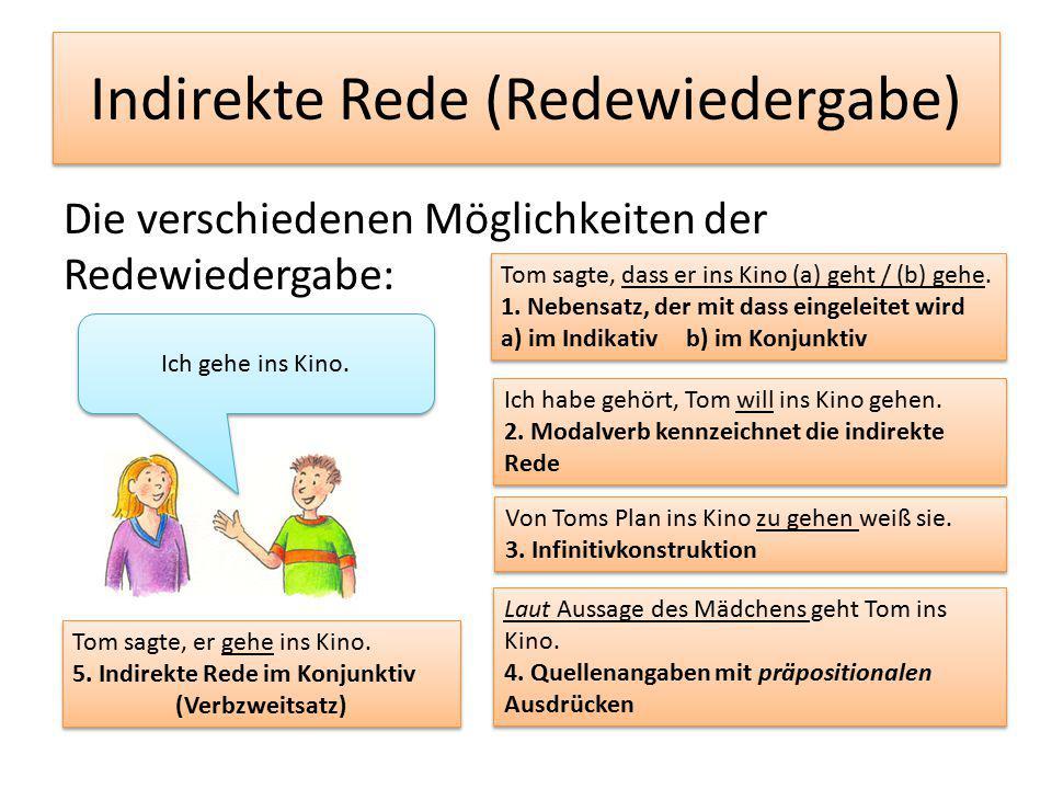 Indirekte Rede (Redewiedergabe) Die verschiedenen Möglichkeiten der Redewiedergabe: Tom sagte, dass er ins Kino (a) geht / (b) gehe.
