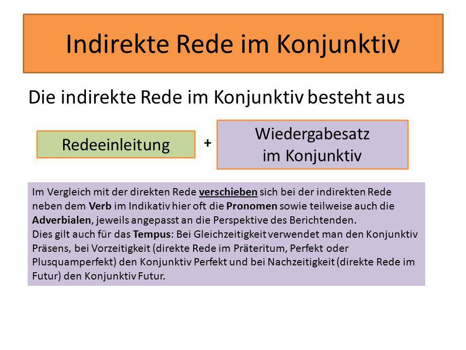 Indirekte Rede im Konjunktiv Die indirekte Rede im Konjunktiv besteht aus Redeeinleitung Wiedergabesatz im Konjunktiv + Im Vergleich mit der direkten