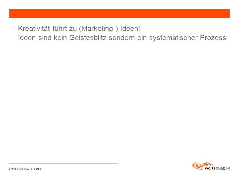Schindler | 25.01.2013 | Seite 9 —Navigationsleiste —Aktueller Eintrag wird rot hervor- gehoben —Navigationsleiste weiter Kreativität führt zu (Marketing-) Ideen.