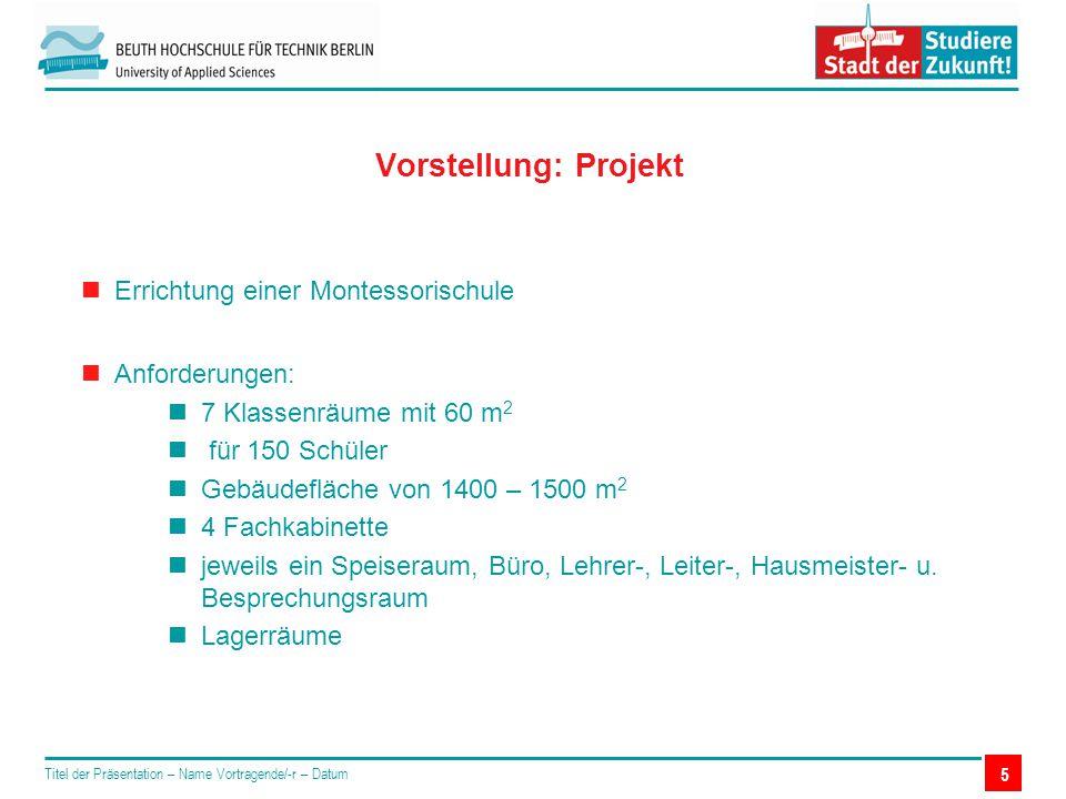 5 Vorstellung: Projekt Titel der Präsentation – Name Vortragende/-r – Datum Errichtung einer Montessorischule Anforderungen: 7 Klassenräume mit 60 m 2