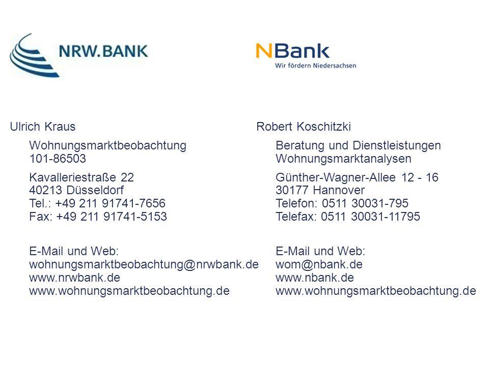 Ulrich Kraus Wohnungsmarktbeobachtung 101-86503 Kavalleriestraße 22 40213 Düsseldorf Tel.: +49 211 91741-7656 Fax: +49 211 91741-5153 E-Mail und Web: wohnungsmarktbeobachtung@nrwbank.de www.nrwbank.de www.wohnungsmarktbeobachtung.de Robert Koschitzki Beratung und Dienstleistungen Wohnungsmarktanalysen Günther-Wagner-Allee 12 - 16 30177 Hannover Telefon: 0511 30031-795 Telefax: 0511 30031-11795 E-Mail und Web: wom@nbank.de www.nbank.de www.wohnungsmarktbeobachtung.de