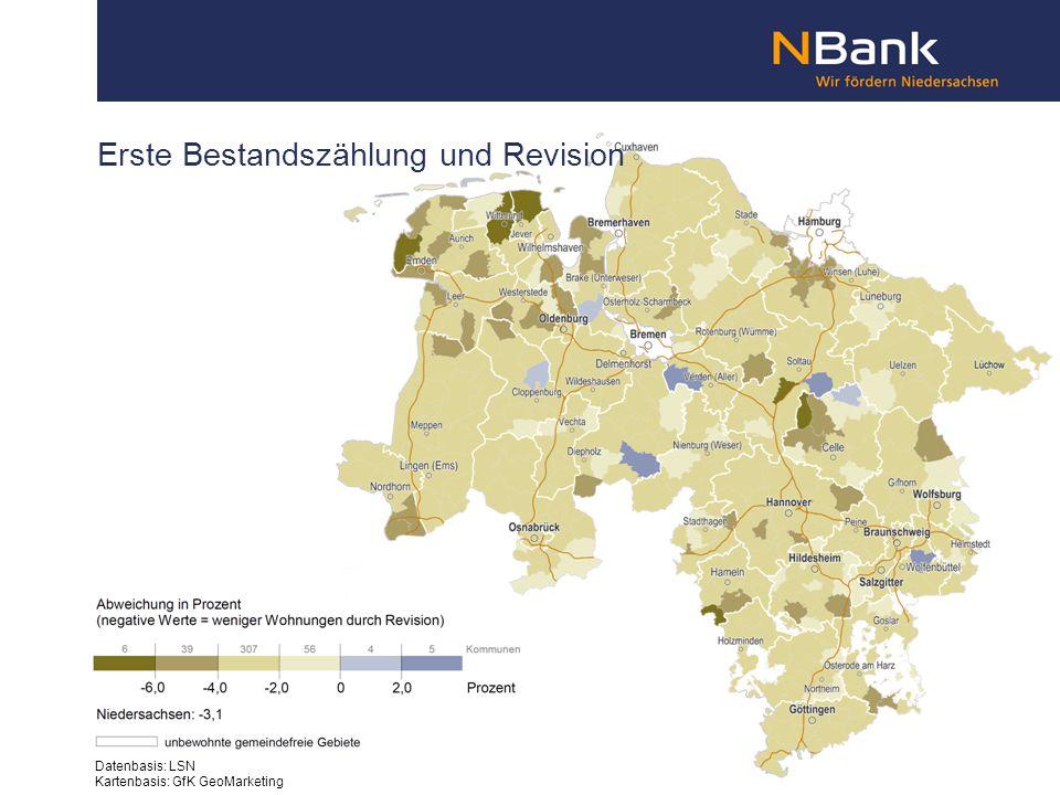 Erste Bestandszählung und Revision Datenbasis: LSN Kartenbasis: GfK GeoMarketing