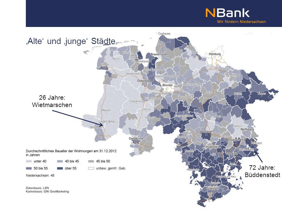 'Alte' und 'junge' Städte 26 Jahre: Wietmarschen 72 Jahre: Büddenstedt