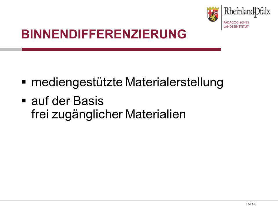 Folie 8 BINNENDIFFERENZIERUNG  mediengestützte Materialerstellung  auf der Basis frei zugänglicher Materialien