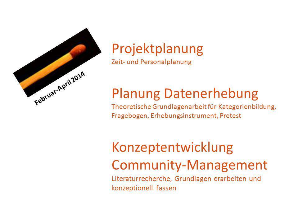 Projektplanung Zeit- und Personalplanung Planung Datenerhebung Theoretische Grundlagenarbeit für Kategorienbildung, Fragebogen, Erhebungsinstrument, P