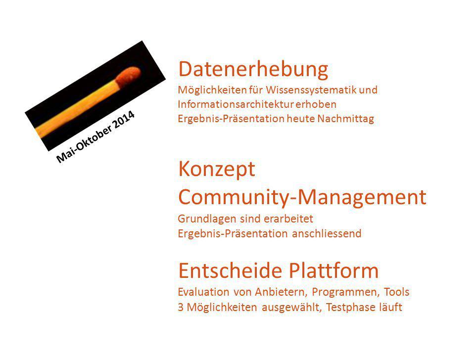 Mai-Oktober 2014 Datenerhebung Möglichkeiten für Wissenssystematik und Informationsarchitektur erhoben Ergebnis-Präsentation heute Nachmittag Konzept