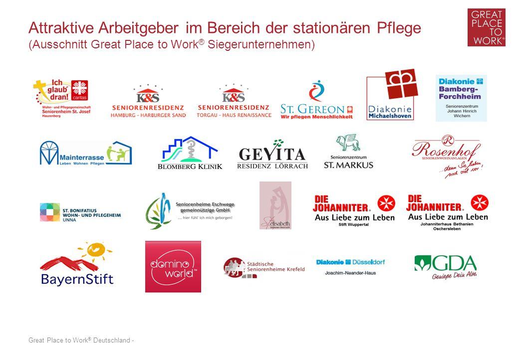 Great Place to Work ® Deutschland - Attraktive Arbeitgeber im Bereich der stationären Pflege (Ausschnitt Great Place to Work ® Siegerunternehmen)