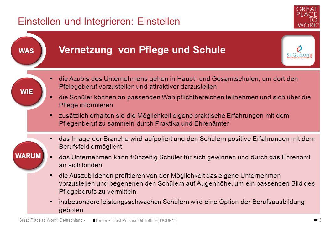 Great Place to Work ® Deutschland - Einstellen und Integrieren: Einstellen  13  Toolbox: Best Practice Bibliothek (