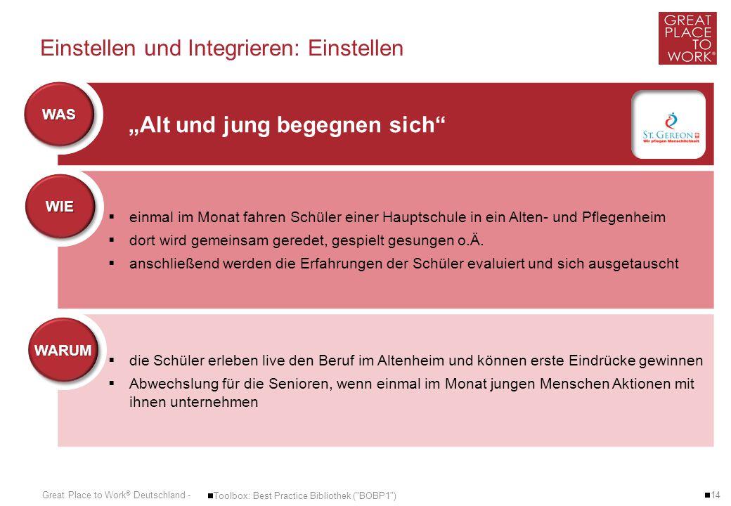 Great Place to Work ® Deutschland - Einstellen und Integrieren: Einstellen  14  Toolbox: Best Practice Bibliothek (