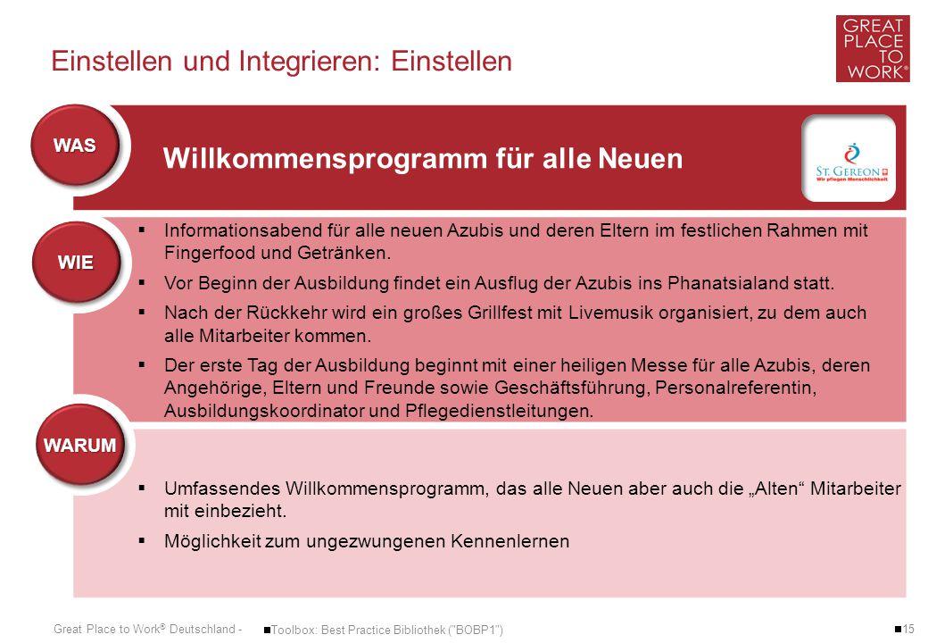 Great Place to Work ® Deutschland - Einstellen und Integrieren: Einstellen  15  Toolbox: Best Practice Bibliothek (