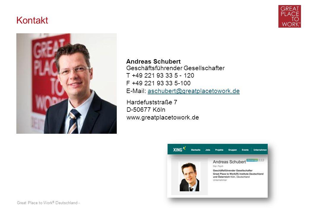 Great Place to Work ® Deutschland - Kontakt Hardefuststraße 7 D-50677 Köln www.greatplacetowork.de Andreas Schubert Geschäftsführender Gesellschafter T +49 221 93 33 5 - 120 F +49 221 93 33 5-100 E-Mail: aschubert@greatplacetowork.deaschubert@greatplacetowork.de
