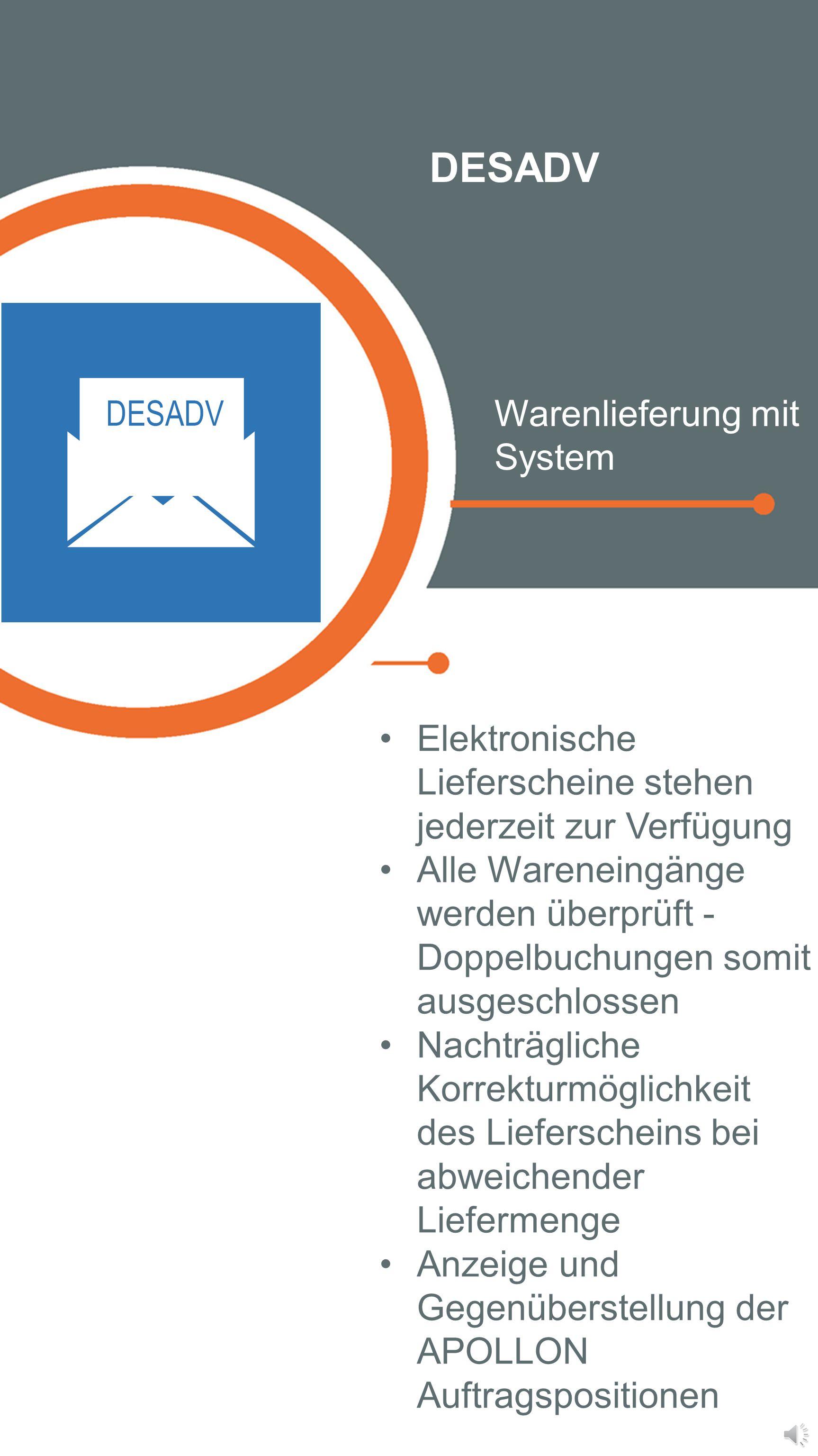 ORDRSP Schnelle Kommunikation mit Externen Gewährleistet die Umwandlung der Lieferantendaten in ein international gültiges und von APOLLON lesbares Da